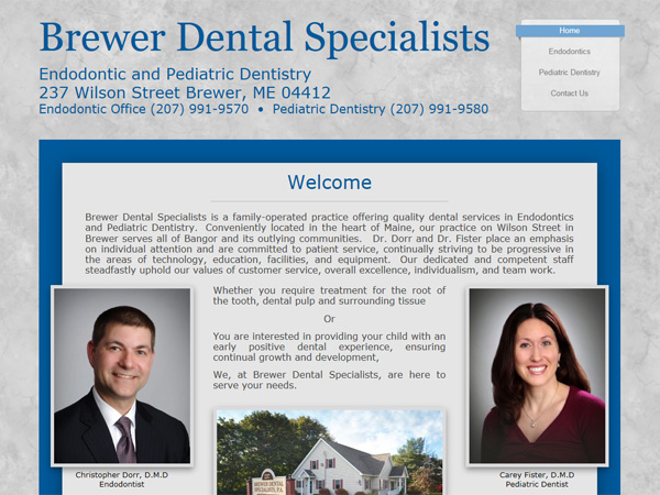 brewer dental specialists website thumbnail